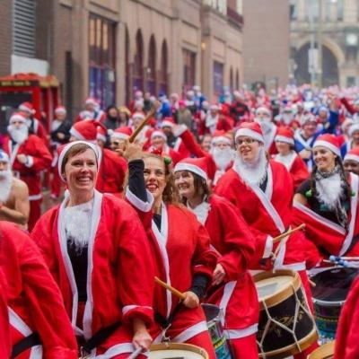 drummers santas father christmas smiling