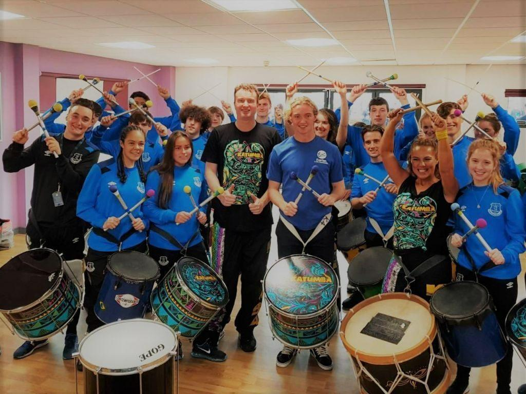 Katumba and Tom Davies drum with Everton Football Club