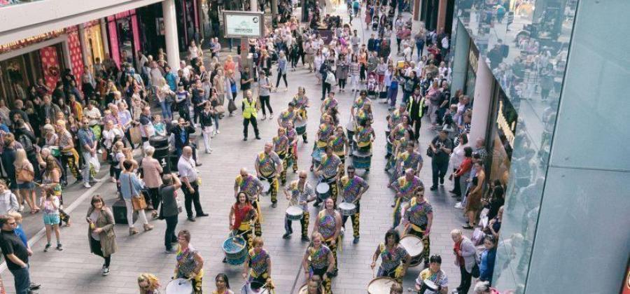Katumba, community samba band drumming in Liverpool One