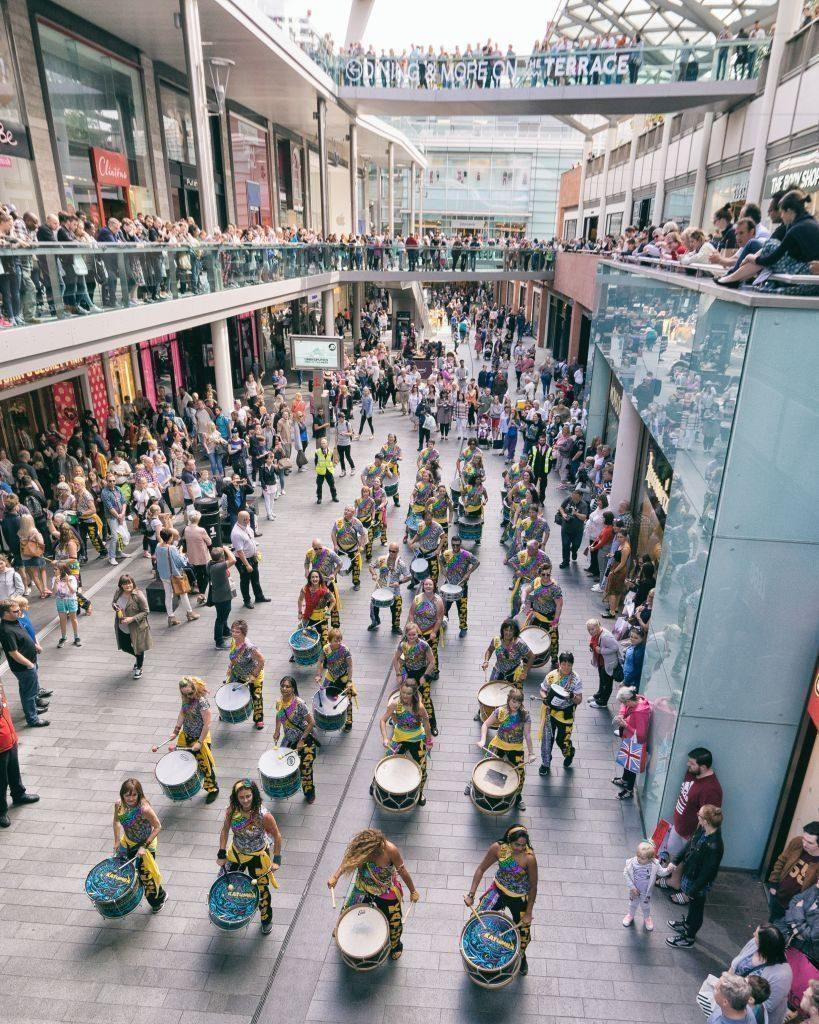 Katumba, community samba band drumming in Liverpool One