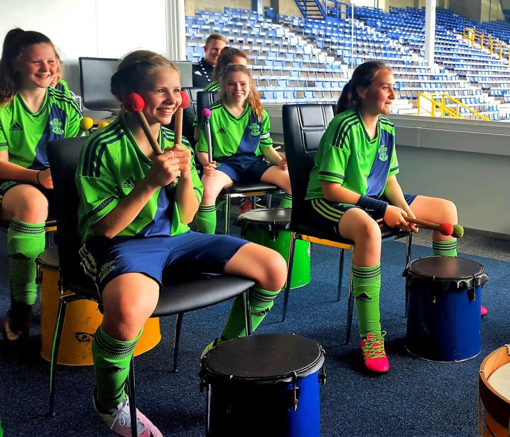 happy teen sports drummers