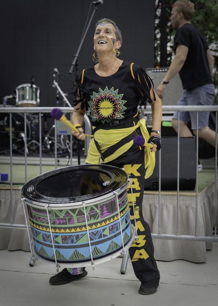 women carnival drummer greenhouse