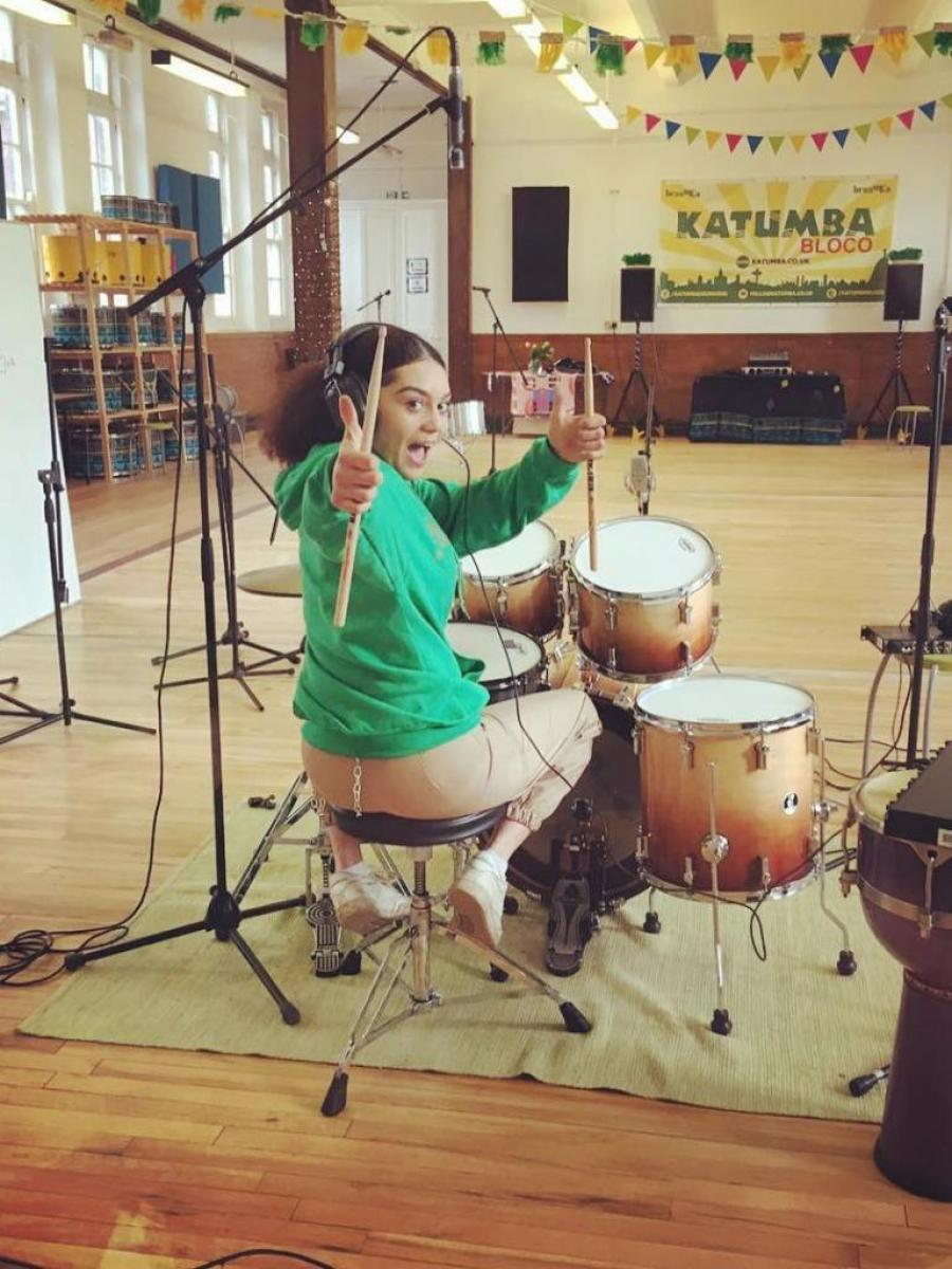girl drummer recording space
