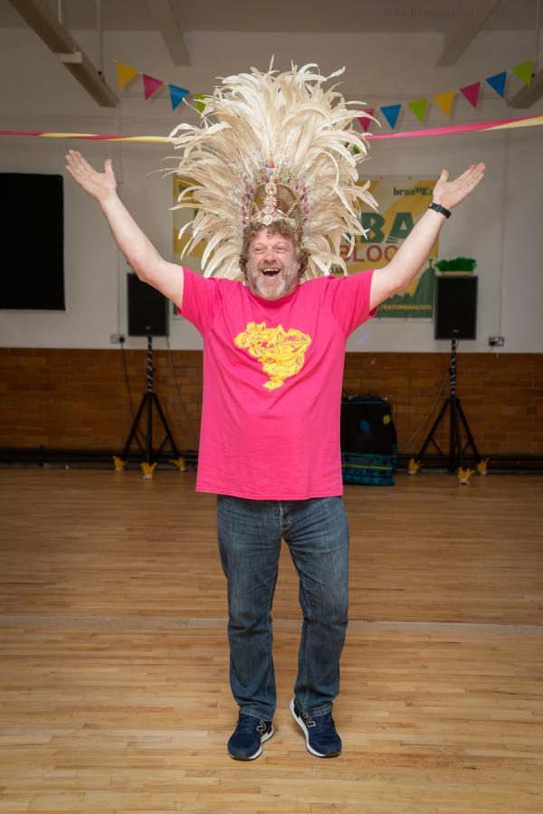 man in samba costume