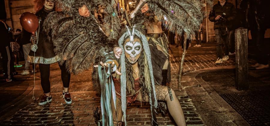 dancers in halloween costume